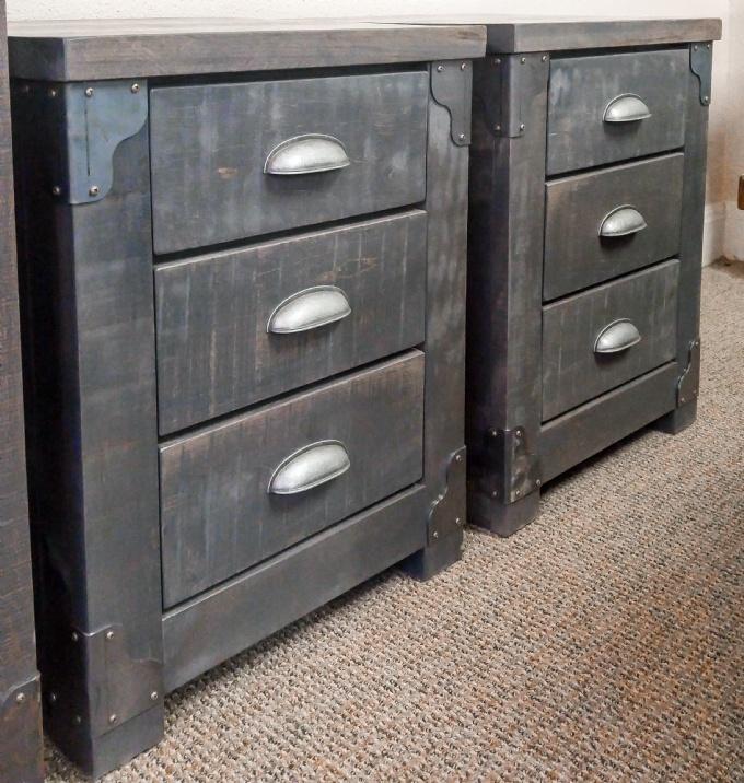 Hoover 3 Drawer Night Table With Metal Corners Mennonite Furniture Ontario  At Lloydu0027s Furniture Gallery In
