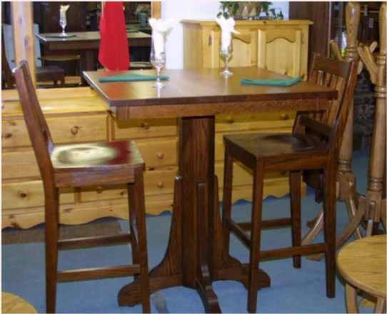 Oak Mission Pub Table and Bar Stool Set Mennonite Furniture Ontario at Lloyd's Furniture Gallery in Schomberg