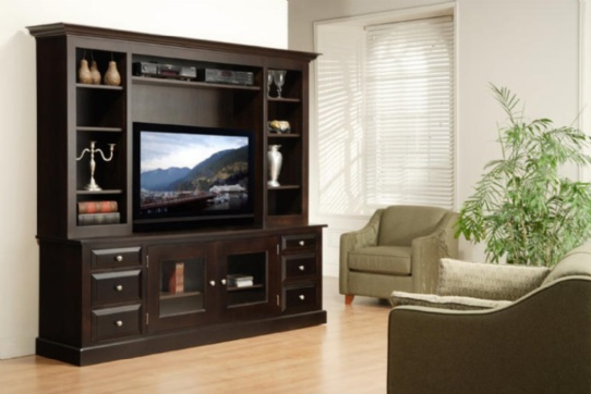 Art Deco HDTV Unit With Hutch Mennonite Furniture Ontario at Lloyd's Furniture Gallery in Schomberg
