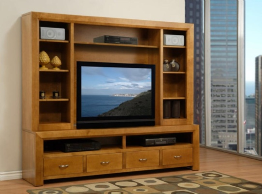 Contempo HDTV Console With Hutch Mennonite Furniture Ontario at Lloyd's Furniture Gallery in Schomberg