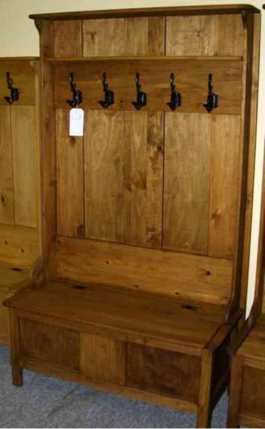 Pine Mennonite Deacons Bench With Coat Hooks Lloyd S Mennonite