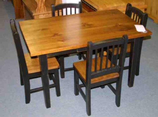 Kid's 5 piece Wooden Mennonite Table and Chair Set Mennonite Furniture Ontario at Lloyd's Furniture Gallery in Schomberg