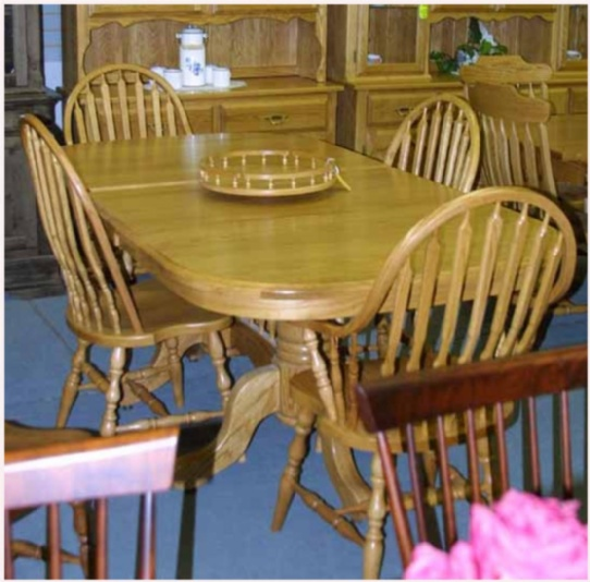 Oak Mennonite Pedestal Table & Chairs Mennonite Furniture Ontario at Lloyd's Furniture Gallery in Schomberg