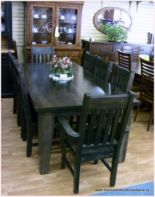Wormy Maple Mennonite Table with Wormy Maple Slat Back Chairs Mennonite Furniture Ontario at Lloyd's Furniture Gallery in Schomberg