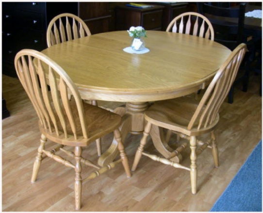 Single Pedestal Mennonite Oak Table Mennonite Furniture Ontario at Lloyd's Furniture Gallery in Schomberg