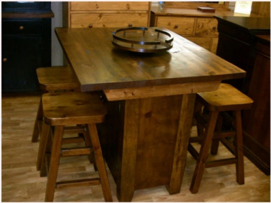 Rough Sawn Mennonite Pine Island Mennonite Furniture Ontario at Lloyd's Furniture Gallery in Schomberg