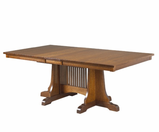 Morris Plains Mission Double Pedestal Table Mennonite Furniture Ontario at Lloyd's Furniture Gallery in Schomberg