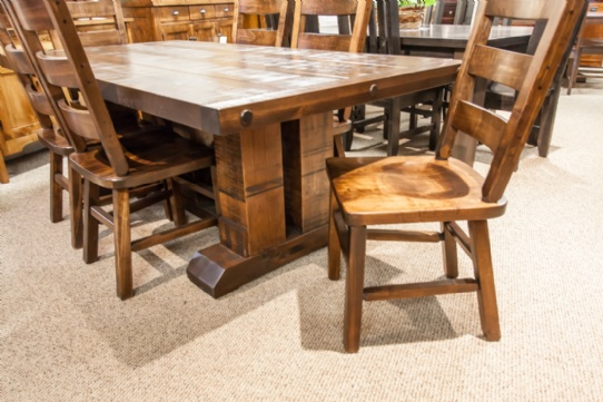 Wormy Maple Grimshaw Double Pedestal Table Mennonite Furniture Ontario at Lloyd's Furniture Gallery in Schomberg