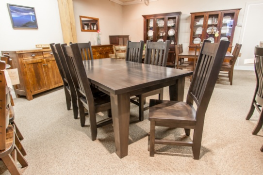 Wormy Maple Harvest Table Mennonite Furniture Ontario at Lloyd's Furniture Gallery in Schomberg