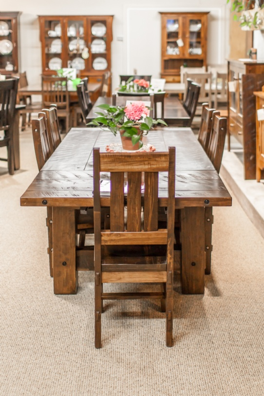 Wormy Maple Timber Harvest Table and Timber Chairs Mennonite Furniture Ontario at Lloyd's Furniture Gallery in Schomberg