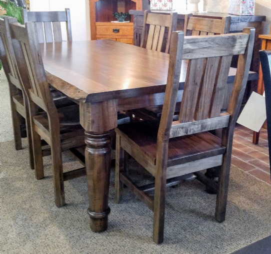 Wormy Maple Hoover Live Edge Harvest Table With Ranch Side Chairs Mennonite Furniture Ontario at Lloyd's Furniture Gallery in Schomberg